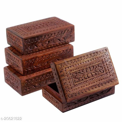 Wooden Jewellery Jewel Boxes Storage Box Organizer Gift Box for Women Necklace Earring Set Bangles Churi Holder Gift for Men (Set of 4 Box)