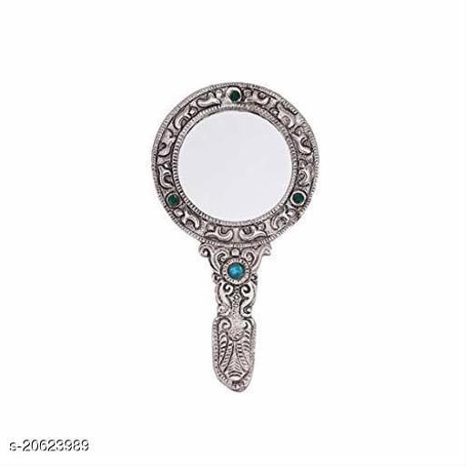 Fashion Fever Small Silver Polished Hand Mirror 3 Stone(Alluminium)