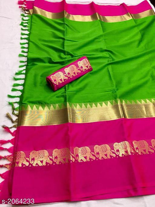 Hathi design cotton silk saree