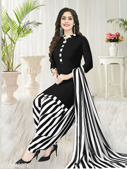 Women's Solid Top and Strip Printed Bottom Un-Stitched 3Pcs Crepe Suit with Printed Dupatta