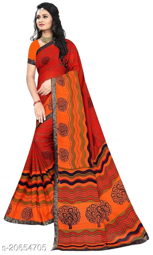 Trendy Attractive Printed Synthetic Sarees For Women