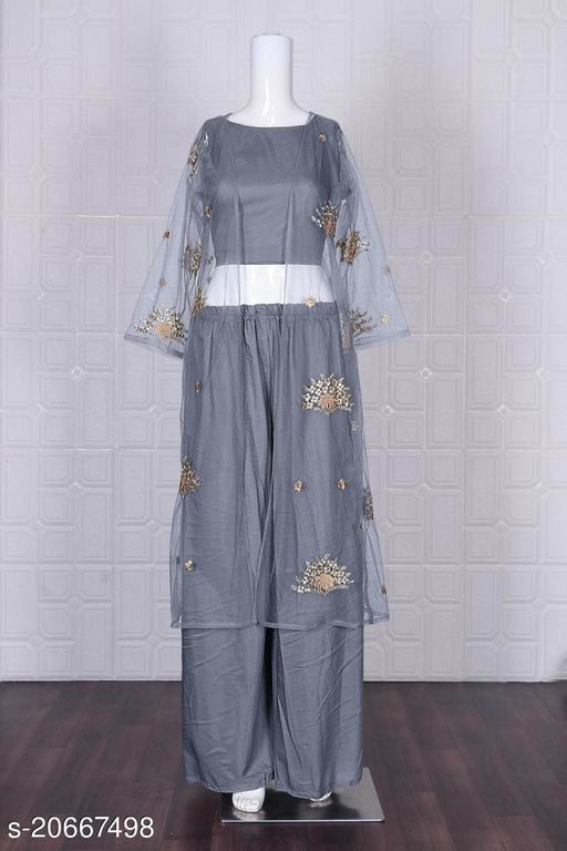 New Facny Net With Embroidery Work Western Wear  (Stitched)