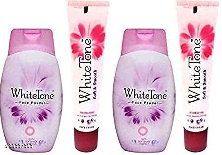 WHITE TONE FACE White Tone Cream 25 g x 2 and Face Powder 70 g x 2 (Pack of 4)