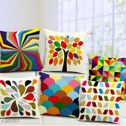 Printed Polyester Cushion Covers (Pack Of 5)