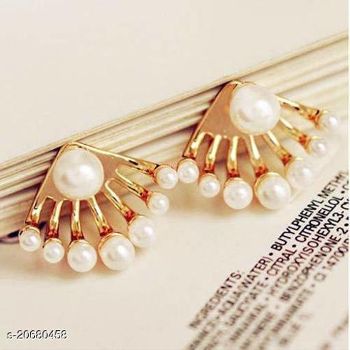 ARZONAI Non-precious Metal and Pearl Earrings for Women & Girls, Golden…