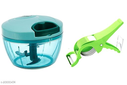 AETRIO Handy Mini Plastic Vegetable Chopper With 2 in 1 Cutter & Peeler with Extra Sharp Stainless Steel Blades