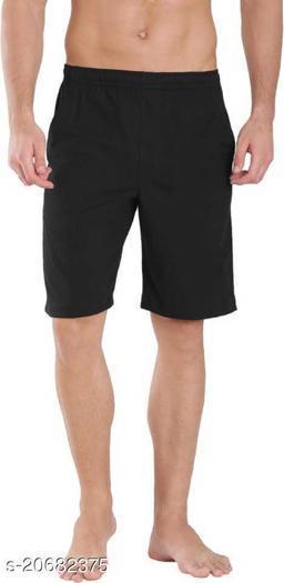 Mptiude Trendy Men's Cotton Short (Black) Three Forth and Bermuda