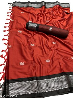 MH_Paithani_108_3D_Red & Silver Black