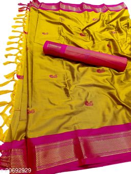 MH_Paithani_101_Mustard & Pink [P.Pink]