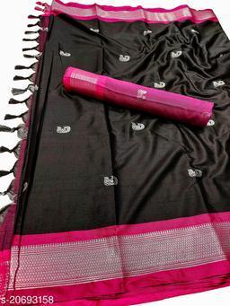 MH_Paithani_100_Black & Silver Pink