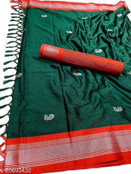MH_Paithani_97_Bottle Green & Silver Red