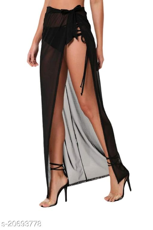 Women Wrap Around Black Long Skirt for Beach Wear Shiffon
