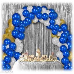 2 pcs Silver Fringe Curtains + 30 pcs Blue, White, Gold Metallic Balloons Combo