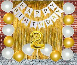 Happy Birthday Banner- White + 2 pcs Gold Fringe Curtains + 2 No. Gold Foil + 30 pcs Golden, Silver Metallic Balloons Combo
