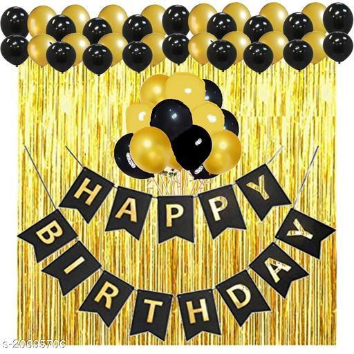 Happy Birthday Banner- Black + 2 pcs Golden Fringe Curtains + 30 pcs Black, Gold Metallic Balloons Combo