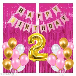 Happy Birthday Banner- Pink + 2 pcs Pink Fringe Curtains + 2 No. Gold Foil + 30 pcs Pink, White, Gold Metallic Balloons Combo