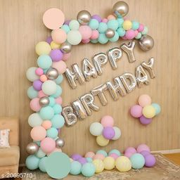 Happy Birthday Silver Foil Letters + 30 pcs Multicolor Pastel Balloons Combo