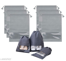 Quick Organizer Fabric Shoe Cover Travelling Storage Bag Footwear Wardrobe Organizer Pouch Pack of 6 (Grey)