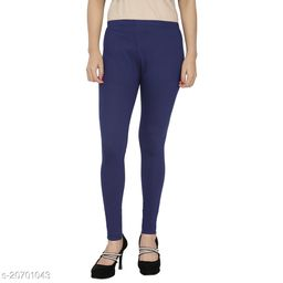 Lets Shine cotton lycra 160 GSM 4 way stretchable churidar cotton leggings for females of free size (Navy Blue)