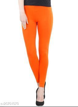 Lets Shine cotton lycra 160 GSM 4 way stretchable churidar cotton leggings for females of free size (Orange)