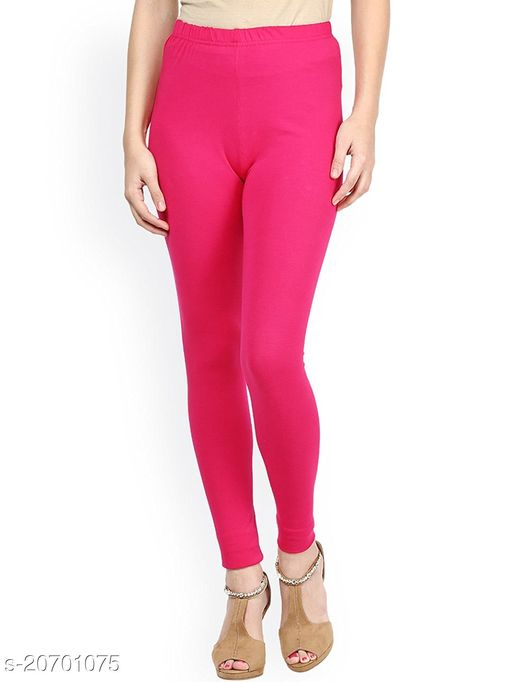 Lets Shine cotton lycra 160 GSM 4 way stretchable churidar cotton leggings for females of free size (Pink)