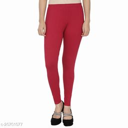 Lets Shine cotton lycra 160 GSM 4 way stretchable churidar cotton leggings for females of free size (Maroon)