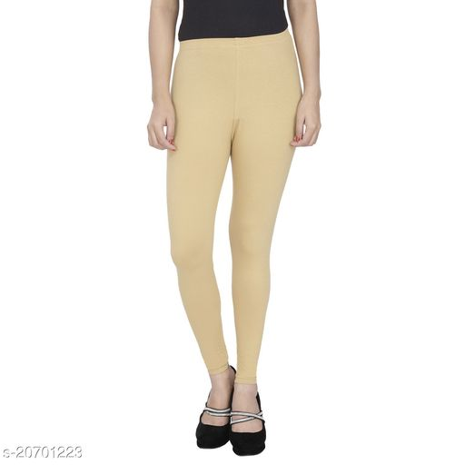 Lets Shine cotton lycra 160 GSM 4 way stretchable churidar cotton leggings for females of free size (Beige)