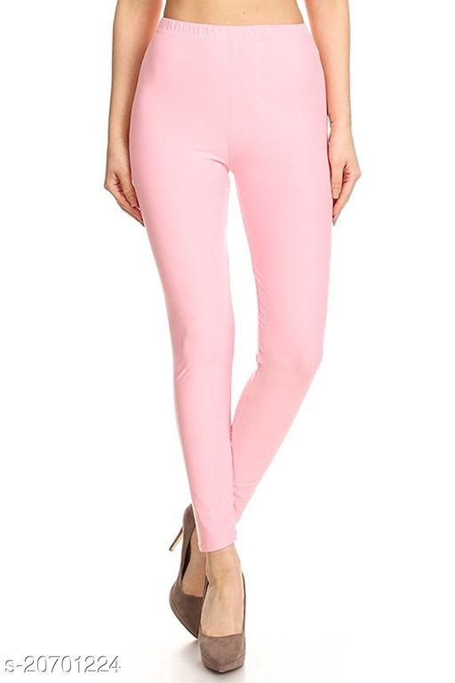 Lets Shine cotton lycra 160 GSM 4 way stretchable churidar cotton leggings for females of free size (Baby Pink)
