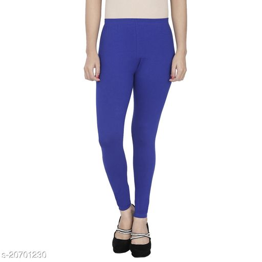 Lets Shine cotton lycra 160 GSM 4 way stretchable churidar cotton leggings for females of free size (Blue)