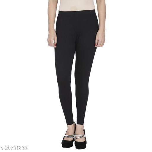 Lets Shine cotton lycra 160 GSM 4 way stretchable churidar cotton leggings for females of free size (Black)