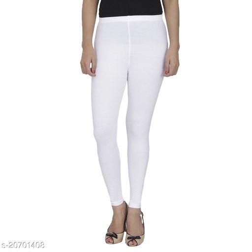 Lets Shine cotton lycra 160 GSM 4 way stretchable churidar cotton leggings for females of free size (White)