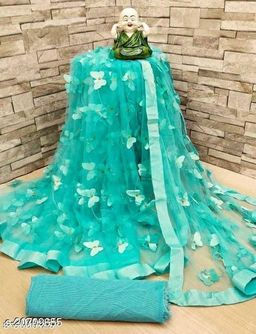 ButterFly  Saree For Woman Sky Blue