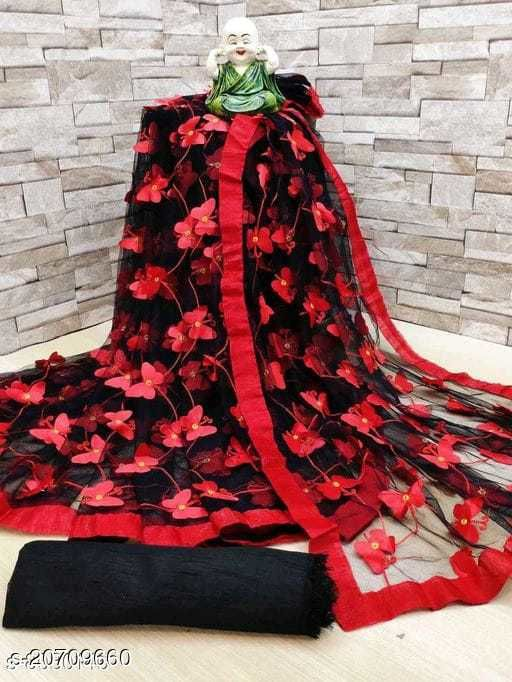 ButterFly Saree For Woman New Contrast Black&Red