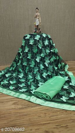 ButterFly  Saree For Woman New Contrast Black&Light Green