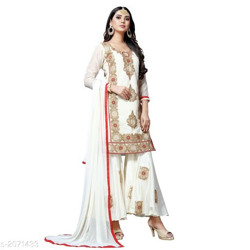 Pretty Chanderi Cotton Embroidery Women's Suits & Dress Material