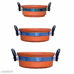 Vagbhatt Combo Pack of Clay Kadai (Pack of 3 ) Clay Pots for Cooking/Kadhai/Handi/Mud Kadai/Earthen Cookware for Cooking