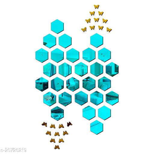 Ollivanders28 Hexagon Blue With Butterfly Golden 3D Acrylic Mirror Wall Sticker Code 711 Decoration for Kids Room/Living Room/Bedroom/Office/Home Wall