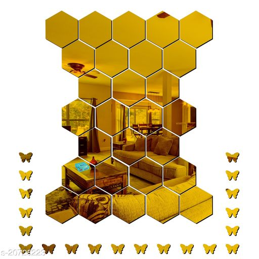 Ollivanders28 Hexagon With Butterfly Golden 3D Acrylic Mirror Wall Sticker Code 704 Decoration for Kids Room/Living Room/Bedroom/Office/Home Wall