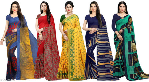 Set of Attractive Georgette Sarees with Blouse Piece