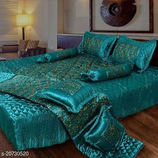 Shree Luxury Silk_Satin Bedding Set (Set of 8 Pieces) 1 Bedsheet:: 2 Pillow Cover:: 2 Filled Cushion:: 2 Filled Bolsters:: 1 AC Comforter (Green)