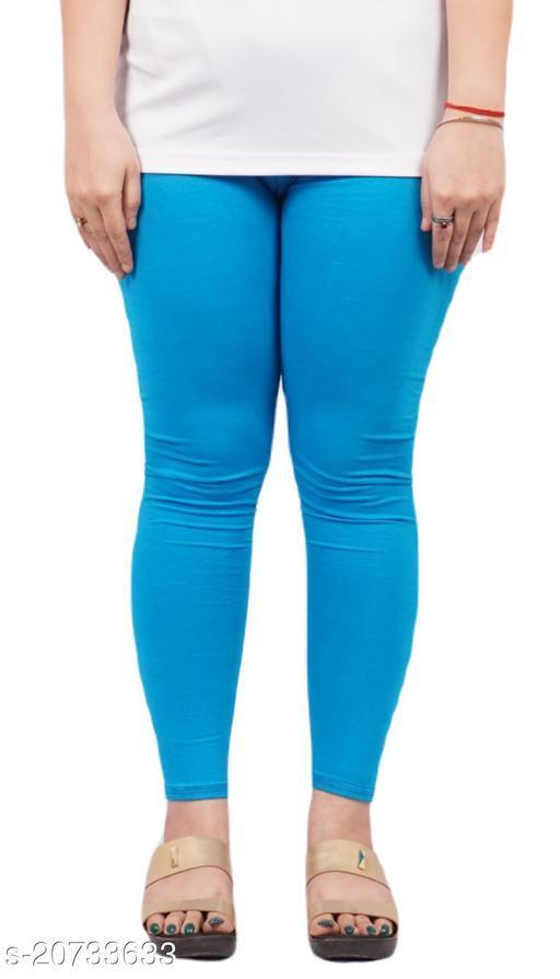 YEZI Popular Cotton Ankle Length Legging for Women and Girls 160 GSM (Colour :  Sky Blue)