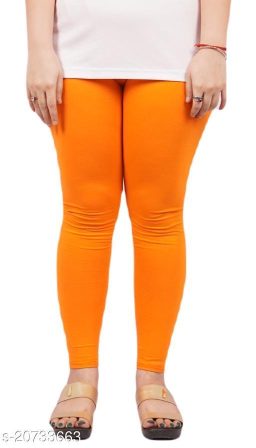 YEZI Popular Cotton Ankle Length Legging for Women and Girls 160 GSM (Colour :  Orange)