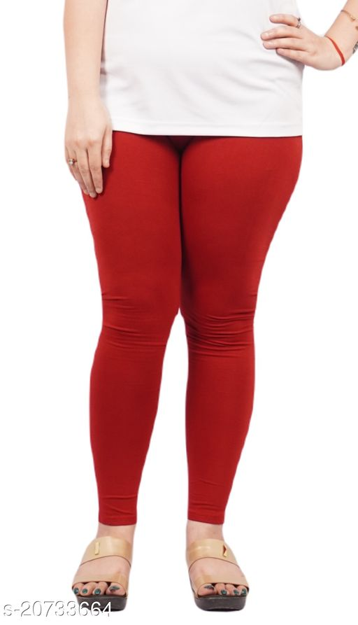 YEZI Popular Cotton Ankle Length Legging for Women and Girls 160 GSM (Colour :  Maroon)