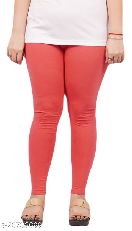 YEZI Popular Cotton Ankle Length Legging for Women and Girls 160 GSM (Colour :  Coral)