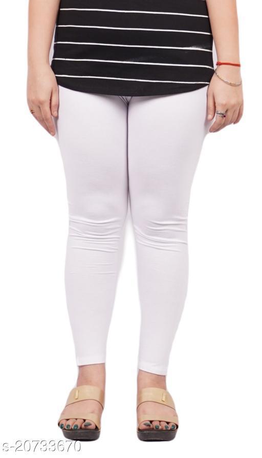 YEZI Popular Cotton Ankle Length Legging for Women and Girls 160 GSM (Colour :  White)