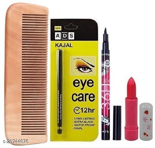 Premium Wooden Multi Purpose Comb with Pink Magic Lip Balm & Longlasting Waterproof Eye Care Kajal, 36H Eyeliner