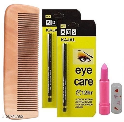 Premium Wooden Multi Purpose Comb with Pink Magic Lip Balm & Longlasting Waterproof Eye Care Kajal (Pack of 2)
