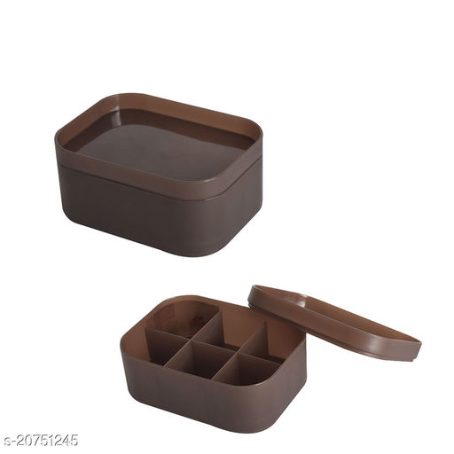 Beauty cosmectic Case Small Brown Set of 2 (With Partition)