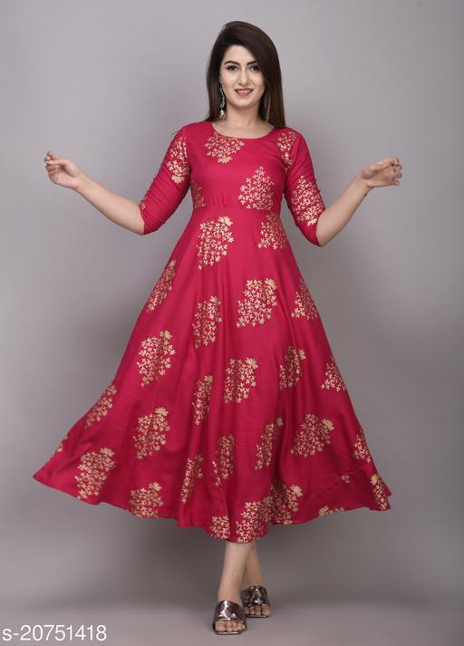 JaipurFabStudio Pink Rayon Gold Printed Gown Kurti Maha Price Drop Sale