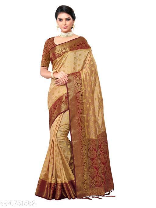 Women's Maheshwari Geometric Silk Blend Saree With Unstitched Blouse